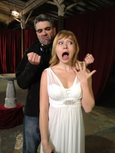 "John V. Knowles with Sarah Stouffer, who plays ""Britney"" in Chastity Bites."