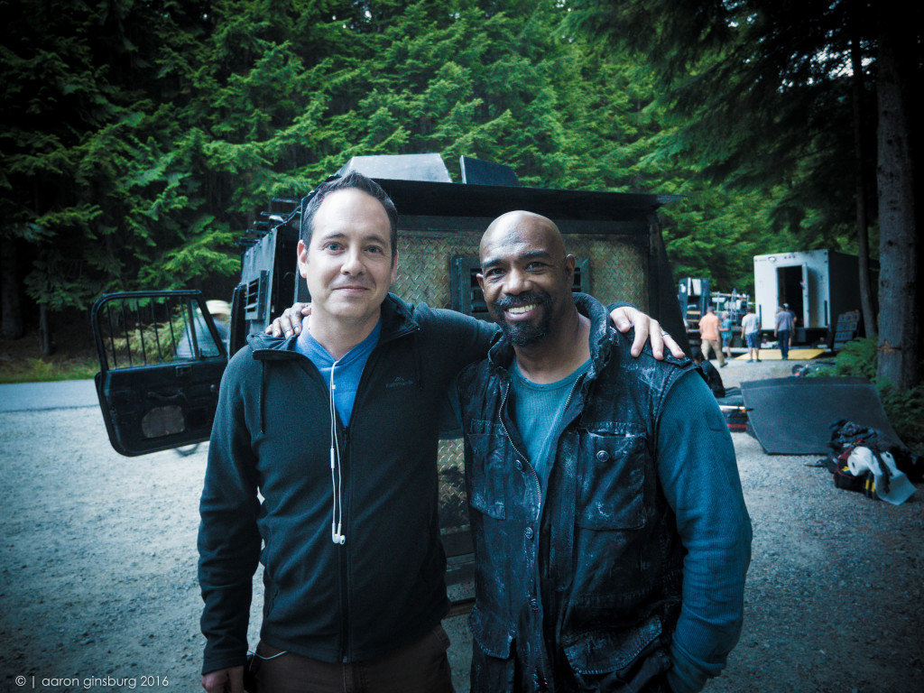 Aaron Ginsburg and Michael Beach (Pike) hanging in front of the rover before filming a scene.