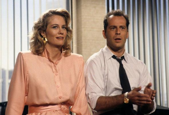 Cybil Shephard and Bruce Willis as Maddie Hayes and David Addison in ABC's 'Moonlighting'